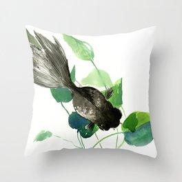 Black Moor Aquarium Fish, Elegant black and green design aquatic black fish Throw Pillow