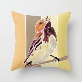 Watercolor Song bird // Smooth Barn Wood Stripe Background Throw Pillow