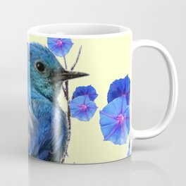 BLUE BIRD & BLUE MORNING GLORIES ART FROM  SOCIETY6 BY SHARLESART. Coffee Mug