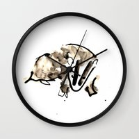 badger Wall Clocks featuring Badger by Jen Moules