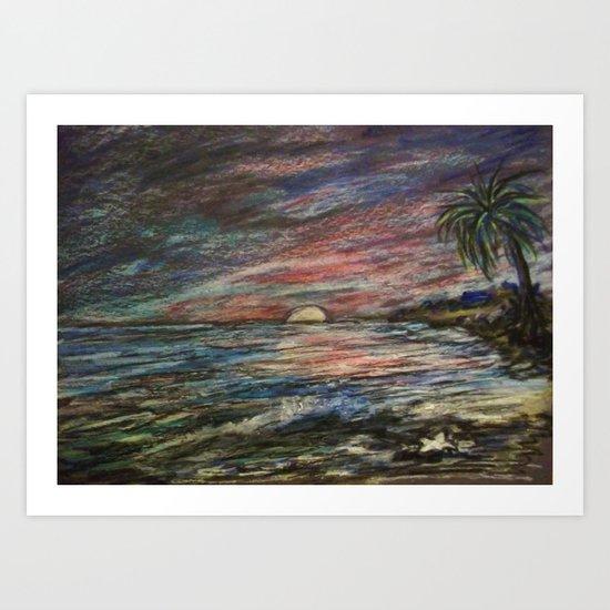CRAYON LOVE: Ermahgerd! HOLY MACKEREL CRAYON SUNSET! Art Print