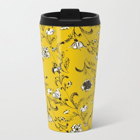 Yellow Floral Pattern Metal Travel Mug