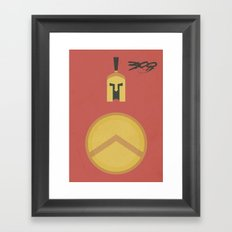 300, Movie Poster, minimal version, Frank Miller, Zack Snyder, Gerard Butler Framed Art Print