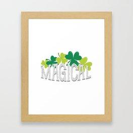 Magical Love Unicorn St Patricks Day Kids Girl Women Framed Art Print
