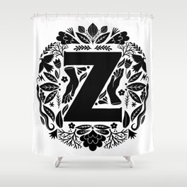 Letter Z monogram wildwood Shower Curtain