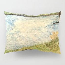 Lake Ferry Watercolour  Landscape Pillow Sham