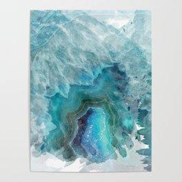 Blue Aqua Agate Poster