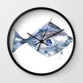 Flat Fish Watercolor Wall Clock