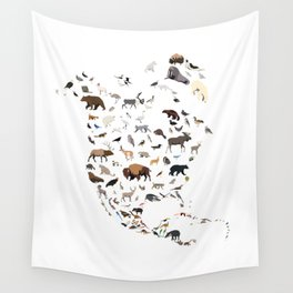 Wild North America map Wall Tapestry