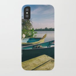 Canoe and Row Boat tethered on the River Thames iPhone Case