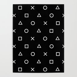Gamer Pattern (White on Black) Poster