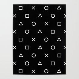 Gamer Pattern (White on Black) Poster