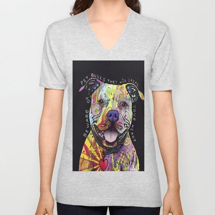 Colourful Pit Bulls, pit bull gift Unisex V-Neck