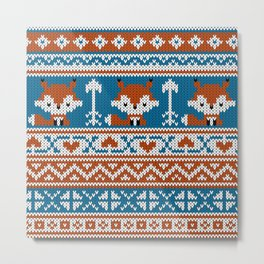 Fair Isle Fox - Blue Metal Print