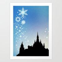 pixar Art Prints featuring Pixar Frozen Castle with Snowflakes by Teacuppiranha