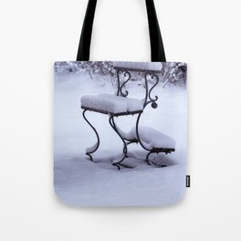 Concept Baden-Wurttemberg : Graveyard bench in snow Tote Bag