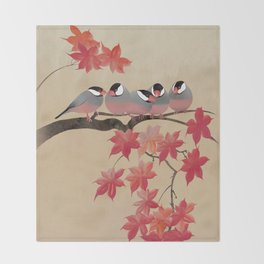 Java Sparrows in Japanese Maple Tree Throw Blanket