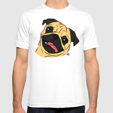 Pug White SMALL Mens Fitted Tee