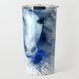 Watercolor Horse Portrait Paint Splatter Travel Mug