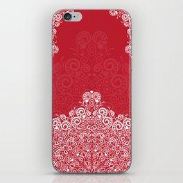 Red background with white love mandala iPhone Skin