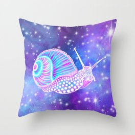 Psychedelic Galaxy Snail Throw Pillow