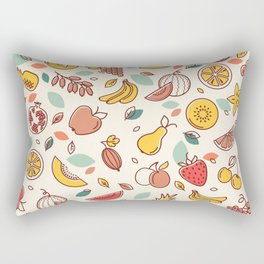 Seamless pattern of various vector fruits. Background with color illustrations of many fruits. Rectangular Pillow