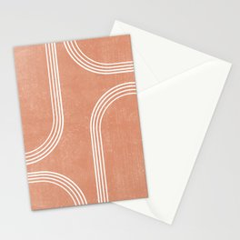 Mid Century Modern 2 - Geometrical Abstract - Minimal Print - Terracotta Abstract - Burnt Sienna Stationery Cards