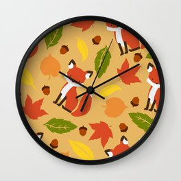 Fox Jumble - Beige Wall Clock