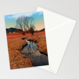 A stream, dry grass, reflections and trees | waterscape photography Stationery Cards