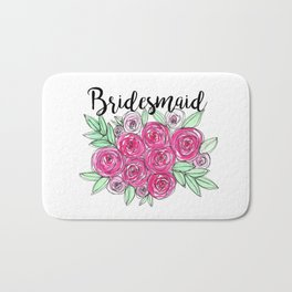 Bridesmaid Wedding Pink Roses Watercolor Bath Mat