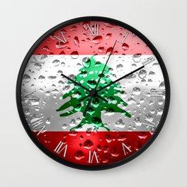 Flag of Lebanon - Raindrops Wall Clock