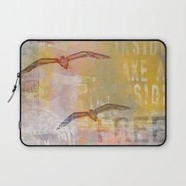 Free bird mixed media artwork Sea Gulls and Typography Laptop Sleeve