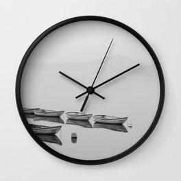Small boat lake black white Wall Clock