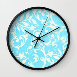 Shabby Chic Aqua Damask Wall Clock