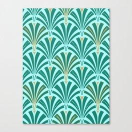 Art Deco Fan Pattern Turquoise on Aqua Canvas Print