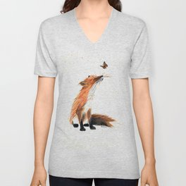 Monarch Fox - animal watercolor painting Unisex V-Neck