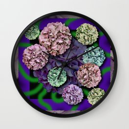 HYDRANGEAS FADING ABSTRACT BOUQUET  Wall Clock