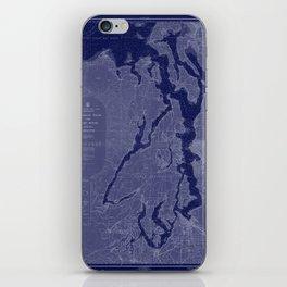 Puget Sound Washington State Nautical Chart Map Print 1956 Dark Blue, Map Art Prints iPhone Skin
