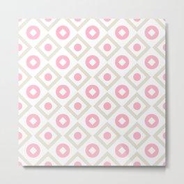 Pink pastel pattern of rhombuses and circles Metal Print