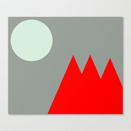Red Mountains and Moon Canvas Print