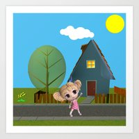 chibi Art Prints featuring Chibi Girl by ChibiGirl