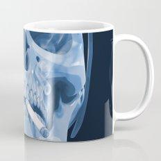Skull Smoking Cigarette Blue Mug