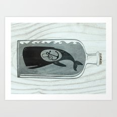 Whale in a Bottle | Anchor Art Print