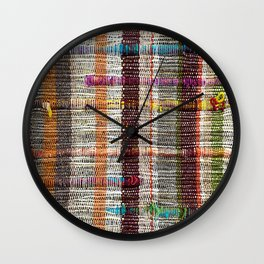 Shanna's Jam in Funky Woven Textured with Neon Teal Yellow Pink Wall Clock