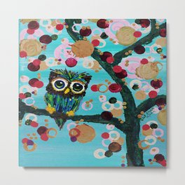 :: Gemmy Owl Loves Jewel Trees :: Metal Print
