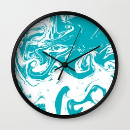 Gesshin - spille dink turquoise japanese watercolor painting topography map landscape water ocean Wall Clock
