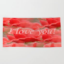 Love You! Red Poppies #decor #society6 Beach Towel