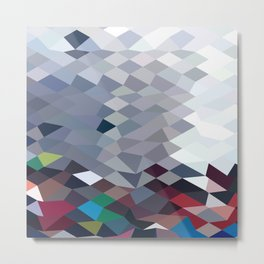 Tidal Wave Abstract Low Polygon Background Metal Print