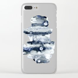 Indigo Abstract Watercolor No.1 Clear iPhone Case