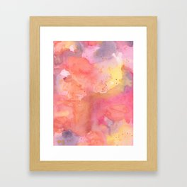 Sunset Color Palette Abstract Watercolor Painting Framed Art Print